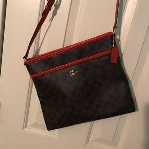 Coach crossbody-brown/red